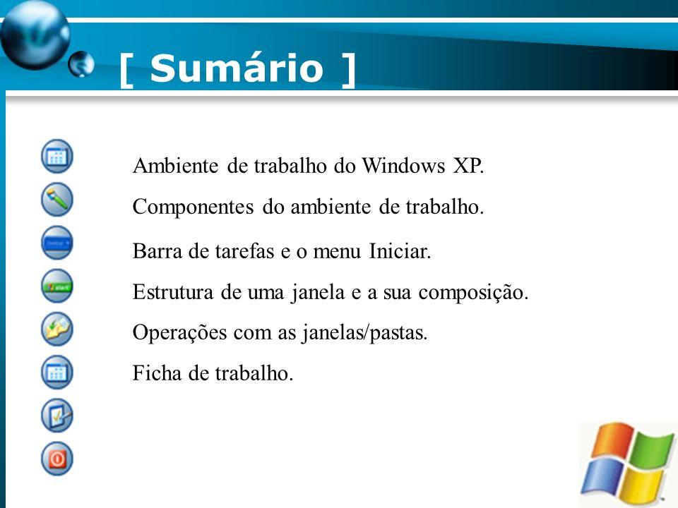 [ Sumário ] Ambiente de trabalho do Windows XP.